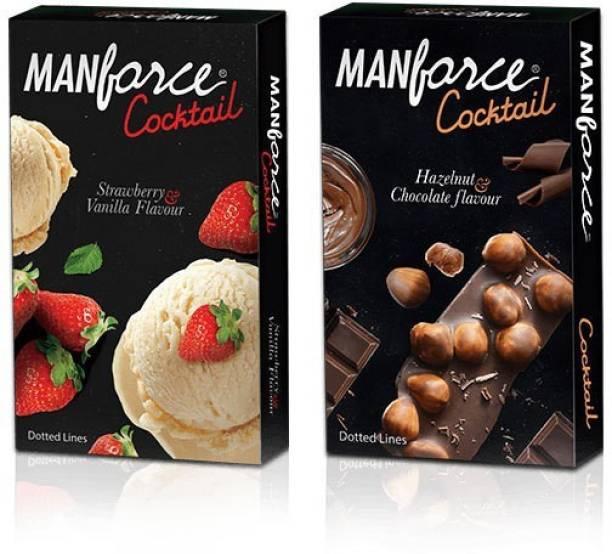 MANFORCE Strawberry-Vanilla & Chocolate-Hazelnut Cocktail PassionRaja.com Combo (20 Condoms) Condom