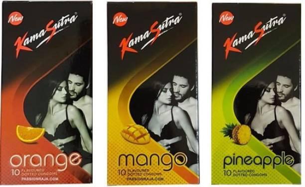 Kamasutra Flavour Basket - Orange, Mango & Pineapple Passion Combo (30 Condoms) Condom