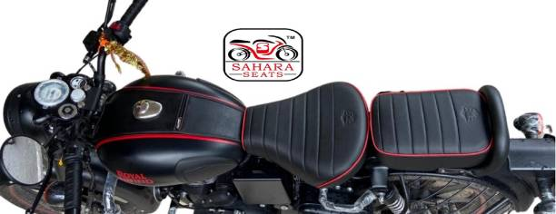Sahara Seats Leather Scratch Proof Seat and Tank Cover Combo for RoyalEnfield Stealth Black 350 Split Bike Seat Cover For Royal Enfield 350 Twin Spark