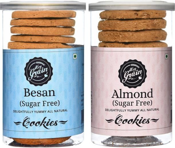 Hey Grain Sugar Free Besan & Sugar Free Almond Cookies Combo Cookies