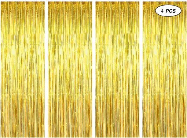 DECOR MY PARTY Golden Metallic Fringe Foil Golden Curtain 3 x 6 ft For Party Home Decoration / Plastic Curtains For Wall Decorations