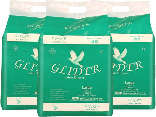 GLIDER Premium Adult Diaper - Large (Pack of 3) (Count 30) Adult Diapers - L