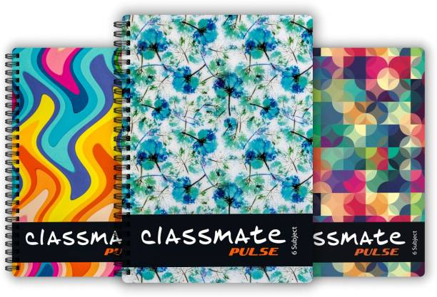 Classmate Pulse 6 Subject (267 X 203 mm) Spiral Regular Notebook Single Line 300 Pages