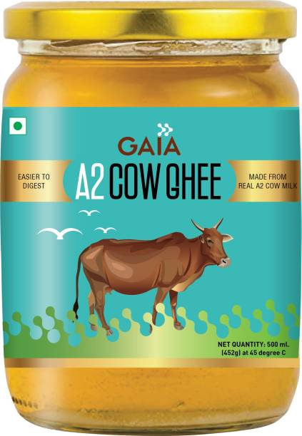 GAIA A2 Cow Ghee, Made from Pure A2 Cow Milk of Rathi and sahiwal cow 500 ML 500 ml Glass Bottle