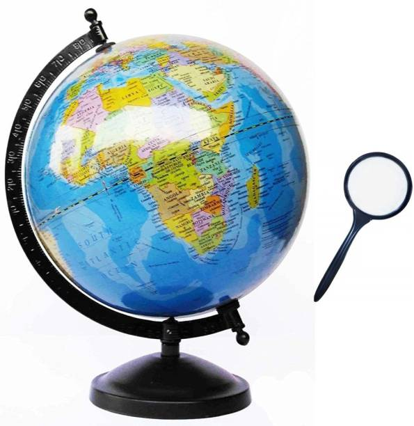 GeoKraft Educational 8 Inches Political World Globe with Lens Desk and Table Top Political World Globe