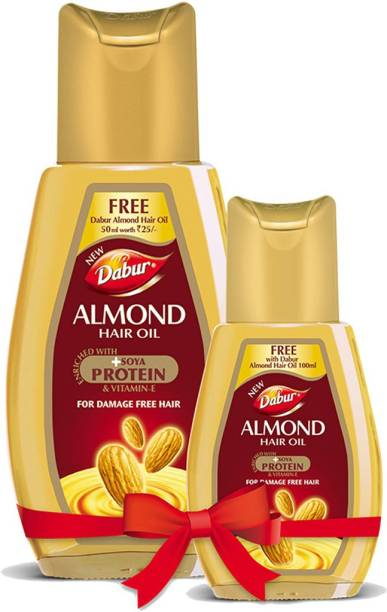Dabur Almond Hair Oil - with Almond, Vitamin E and Soya Protein - 100 ml +50 ml free Hair Oil