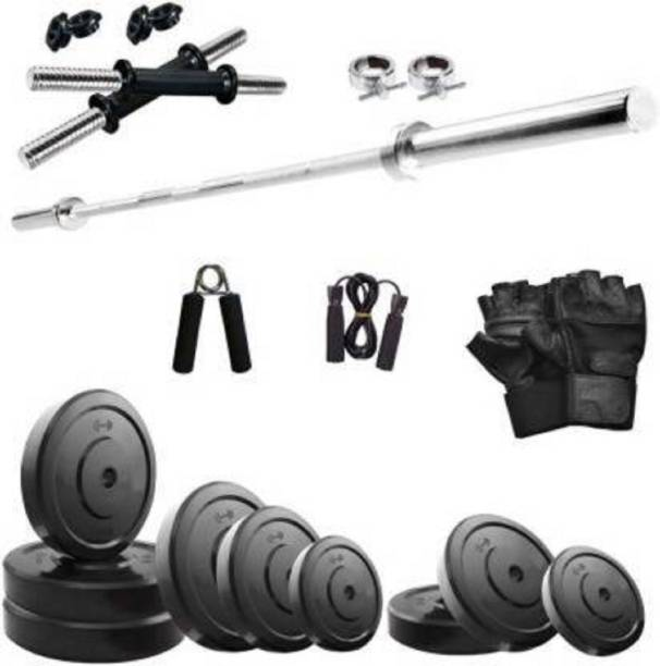 RIO PORT 08 Kg Pvc Plates (2 Kg X 4=08 KG ) with accessory Home Gym Combo Gym & Fitness Kit