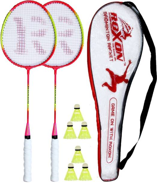 ROXON Multicolor Pack Of 2 Piece Badminton With 1 Piece Cover And 6 Piece Plastic Shuttles Badminton Kit