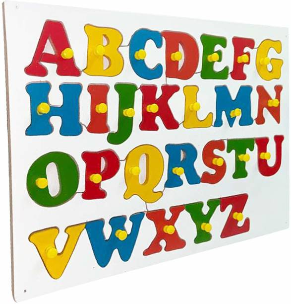 MYFA Multi Colored Wooden Capital Letters Educational Puzzle Toy Board   ABC Shape Learning Tray with Knobs for Kids   Colorful Learning Educational Board for Kids with Knobs