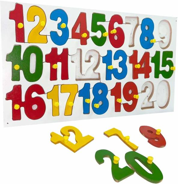 MYFA Multi Colored Wooden 1 to 20 Numeric Educational Puzzle Toy Board   Number Shape Learning Tray with Knobs for Kids   Colorful Learning Educational Board for Kids with Knobs