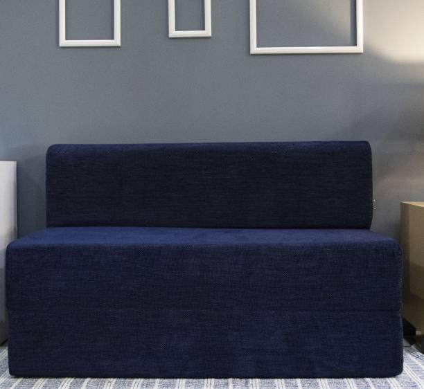 uberlyfe Sofa Cum Bed - Perfect for Guests - Chennile Fabric Washable Cover -Dotted Blue  4' X 6' Feet Double Sofa Bed