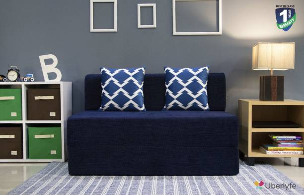 uberlyfe Two Seater Sofa Cum Bed - Perfect for Guests - Chennile Fabric Washable Cover with 2 Cushions( Arrow Pattern ) - Dotted Blue   4' X 6' Feet Double Sofa Bed