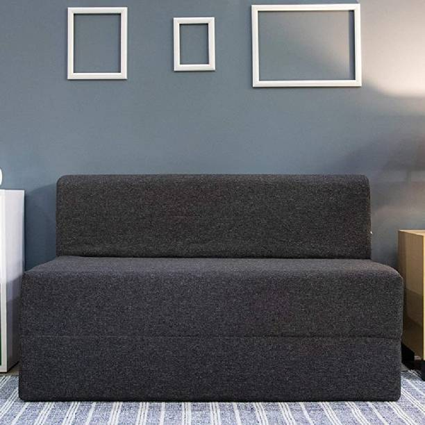 uberlyfe Two Seater Sofa Cum Bed - Perfect for Guests - Jute Fabric Washable Cover - Dark Grey  4'x6' Feet. Double Sofa Bed