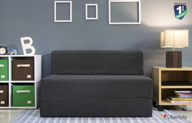 uberlyfe Two Seater Sofa Cum Bed - Perfect for Guests - Jute Fabric Washable Cover - Dark Grey | 4' X 6' Feet Double Sofa Bed