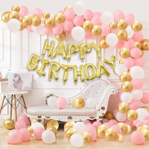 Hemito Solid 101 Pcs Combo -Pink, White and Golden Metallic Balloons + Golden Happy Birthday Letter Foil |Girls Birthday Decorations Kit Balloon