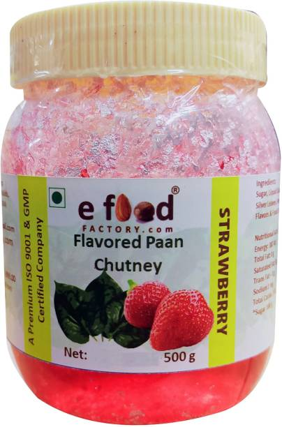 E Food Factory Strawberry Flavored Paan Chutney 500 g In Pet Jar Chutney Paste
