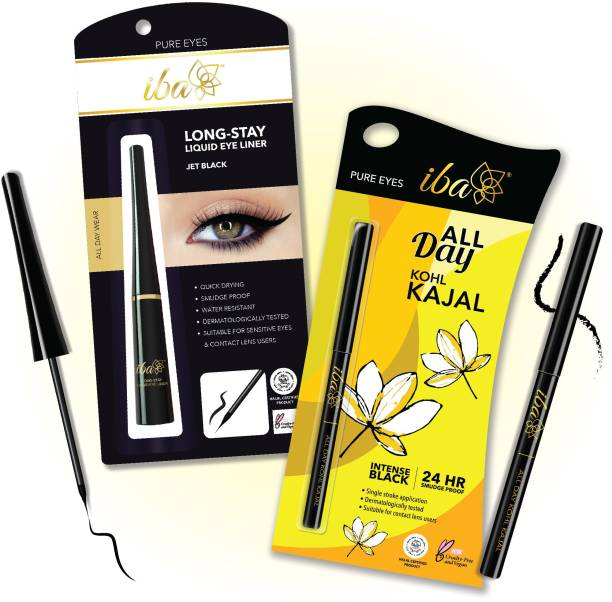 IBA All Day Kohl Kajal + Long Stay Liquid Eyeliner Combo