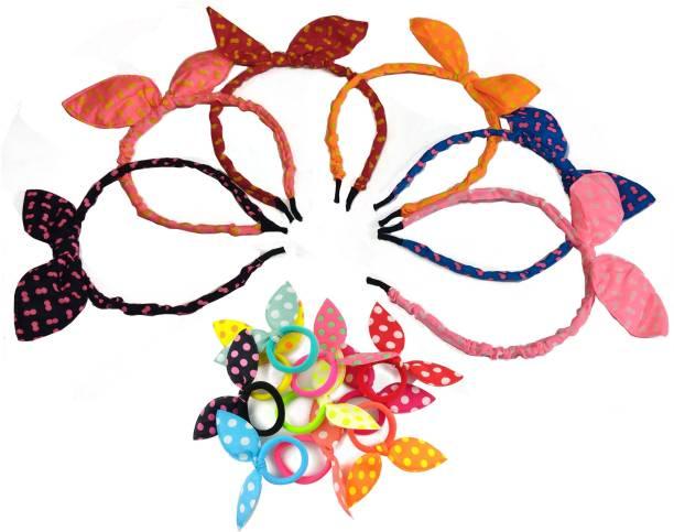 Kidzoo Girls Fashion Multi-Coloured 6 Bow Hairband & 12 Rubber Band Rabbit Ear Hair Band