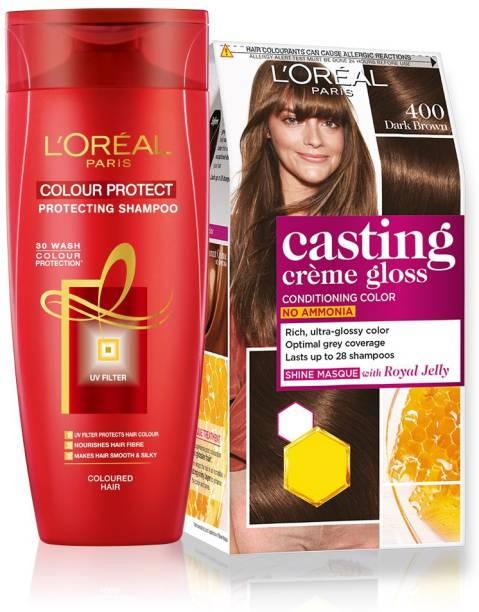 L'Oréal Paris Casting Creme Gloss Hair Color with Color Protect Shampoo (175ml) , 400 Dark Brown