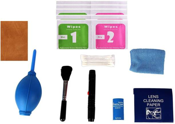 Stela New Professional Clean Pro 9 IN 1 Multi-Purpose Cleaning Kit for Cameras, Lenses, Binoculars, LCD, Laptops, Desktops, Keyboards, etc, Includes Micro-Fibre Cloth, Brush, Liquid Solution, Powerful Dust Blower, Cotton Swabs, Magic Lens pen & Cleaning Tissue  Lens Cleaner