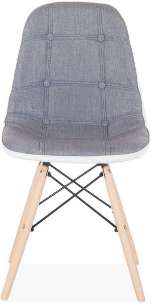 Finch Fox Eames Replica Cushioned Dining Chair in Fabric and White Leatherette (Grey & White Leather) Fabric Living Room Chair