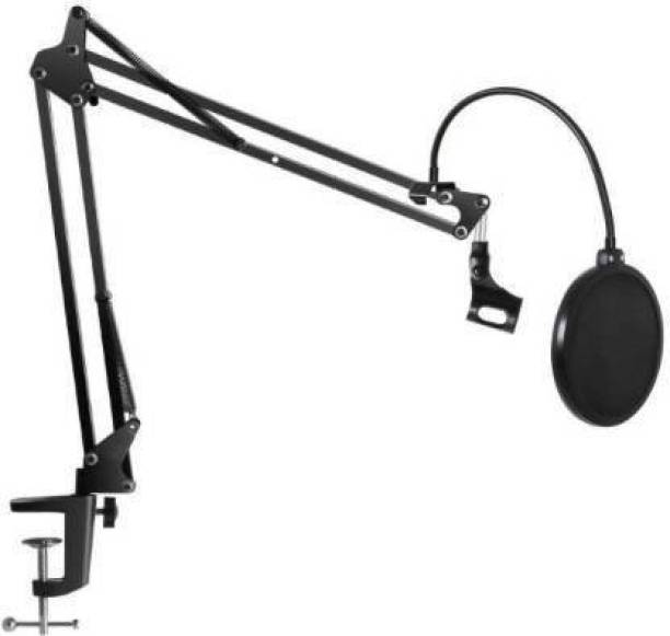 KANHA HUB Adjustable Microphone Suspension Boom Scissor Arm Stand + Dual Layer Pop Filter, Max Load 1 KG Compact Mic Studio Microphone Stand And Pop Filter for Radio Broadcasting Studio,Home,Youtuber Voice-Over Sound Studio, Stages, and TV Stations For Youtube Microphone Suspension Boom Scissor Arm Stand