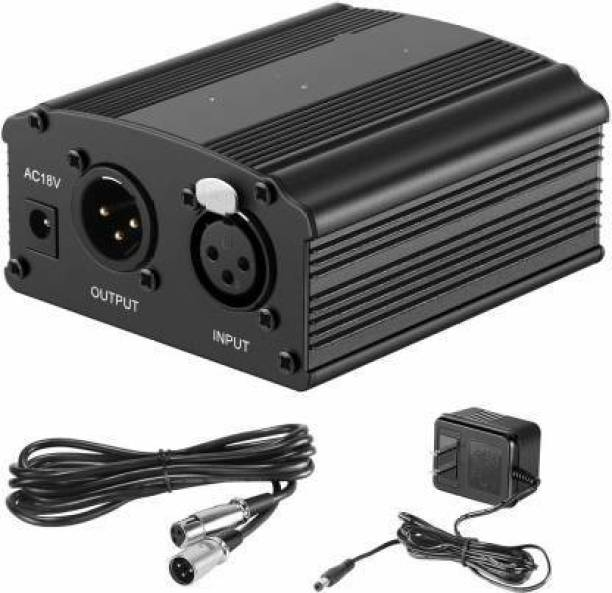 KANHA HUB 48V Phantom Power Supply with Adapter, BONUS+XLR 3 Pin Microphone Cable for BM 800 or Any Condenser Microphone Music Recording Equipment Phantom Power For BM 800 And any other condenser mic Power Supply