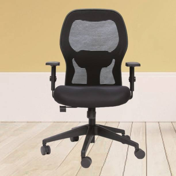 DUREJA INTERNATIONAL Marble ( medium back ) chair Back Lock At Any Position Mechanism , Adjustable Armrest with Soft Pu Pad Nylon Office Visitor Chair