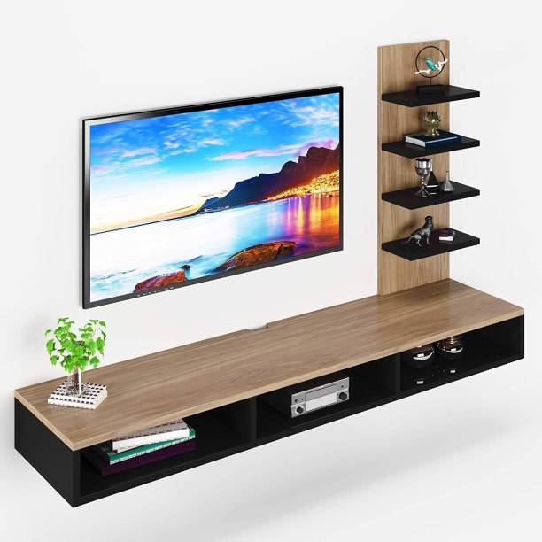 """Furnifry Wooden Wall Mounted TV Stand/TV Entertainment Unit/TV Cabinet with Utility Shelves for Set-Top Box & Decorative Objects/Set-Top Box Stand/Ideal for Up to 42""""- Accessories Included Engineered Wood TV Entertainment Unit"""