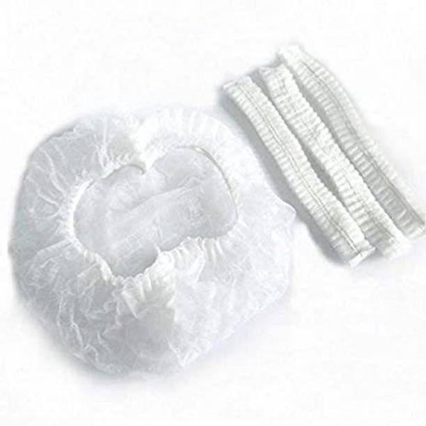 SAI TRDERS Disposable Cap Stretchable White Caps - Head Cover Hair For Cooking & Hygiene(100 Pieces)