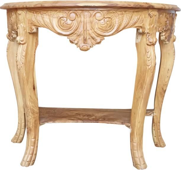 Zara Handicraft Wooden Designer Hand Carved Side Table, Beige, Teak Finish Solid Wood Side Table