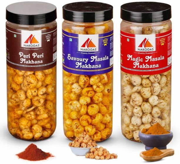 NAKODAS Roasted Makhana Combo - Peri Peri, Savoury Masala, Magic Masala Fox Nuts (70gm Each, Pack of 3)