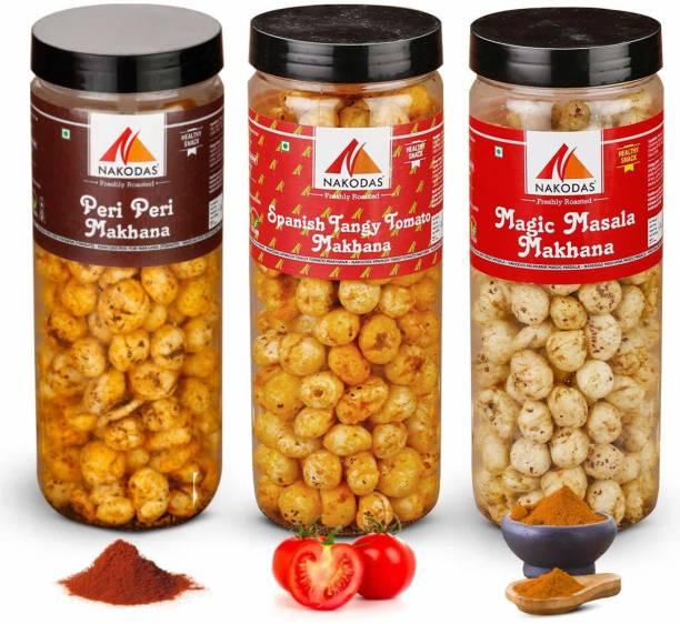 NAKODAS Roasted Makhana Combo - Peri Peri, Spanish Tangy Tomato, Magic Masala Fox Nuts (70gm Each, Pack of 3)