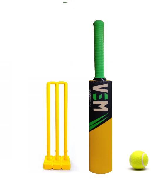 VSM Lazer Cricket Bat Size 6, PVC Stumps with Bails and 1 Yellow Tennis Ball Cricket Kit