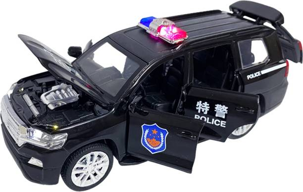 US1984 Die-Cast 4 Wheel Drive Metal Car Pull Back with Police Siren Sound, 6 Openable Doors, Engine Cover, Tail with Front and Rear Light & Music Great Gift for Boys and Girls