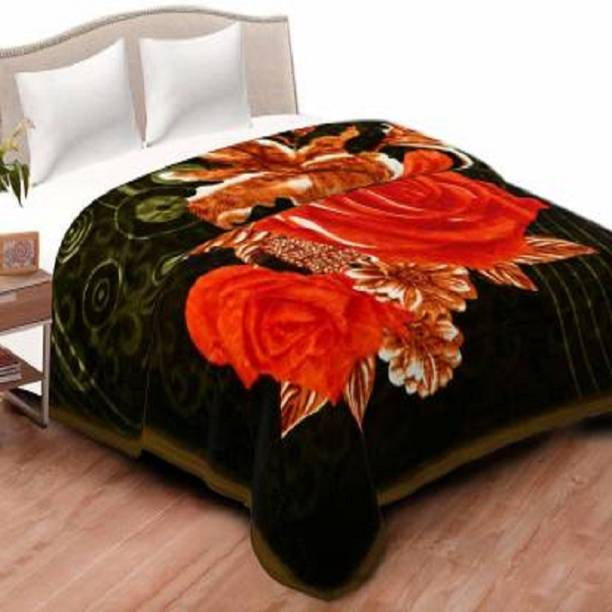 QURIOUSBOX Floral Double Mink Blanket