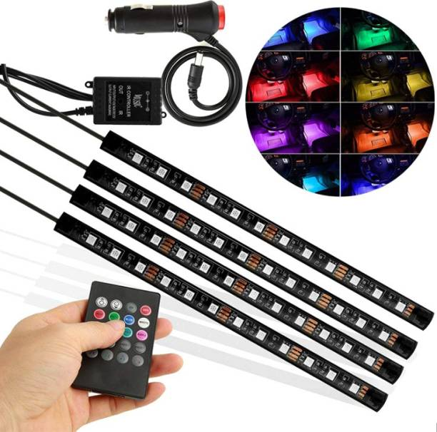Xezon Multicolor Music Car Atmosphere Lights Sound Active Function Car Led Strip Interior Decoration Light With Remote Control Function Car Fancy Lights