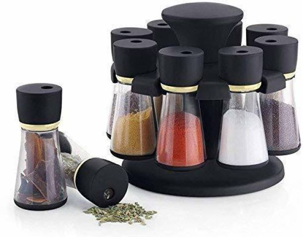 Neki 360 Degree Revolving Shape Transparent Spice Rack, Container Spice Stand For Kitchen Storage Container Rack Sets Spice Racks Containers Namak Dani Tikka Pepper Oregano Chilli Flakes Storage Spices Box (Black) Revolving Spice Rack Masala Rack Spice Box Masala Box Masala Container Spice Designer Stand Set Multipurpose Revolving Plastic Spice Rack Storage Rack Jar Condiment Set (1 Stand,8 Plastic Bottles With 2 in 1 Cap) 1 Piece Salt & Pepper Set