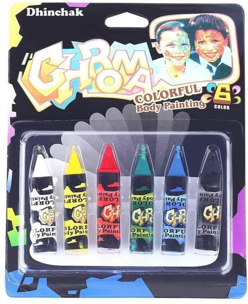 Dhinchak Face colour cryons washable set of 6 cryons
