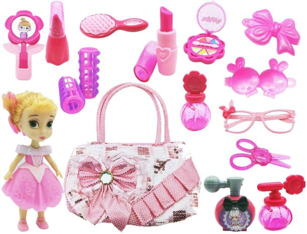 Little Joy Kids Role Play Fashionable Doll Toy with Beautiful Bag and Realistic Makeup Accessories Kit