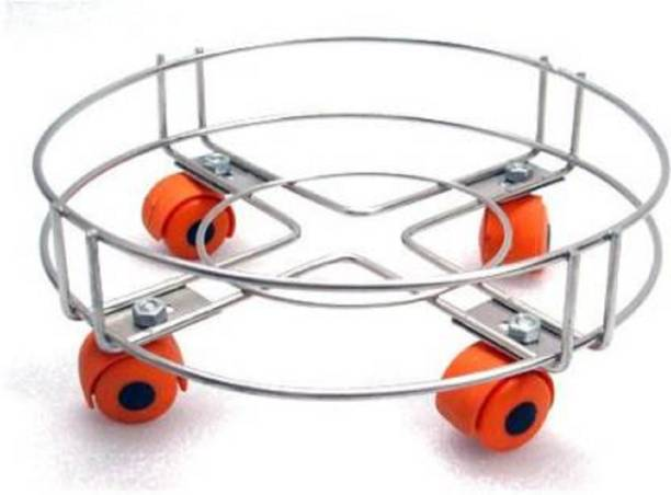UPTOP Stainless Steel Cylinder Trolley with Wheels | Gas Trolly / Cylinder Stand Gas Cylinder Trolley (Silver, Orange) Gas Cylinder Trolley