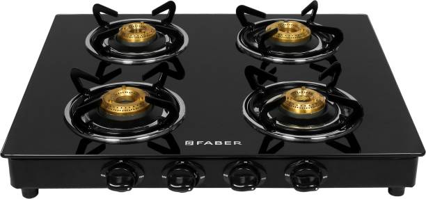 FABER by Faber Power 4BB BK Glass Manual Gas Stove