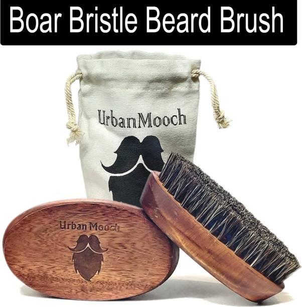 UrbanMooch 100% Boar Bristle Beard Brush with Wooden Handle