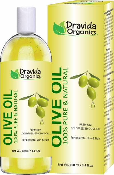 Dravida Organics Extra Virgin Olive Oil for Beautiful Hair, Skin, Face & Body Massage Oil Hair Oil