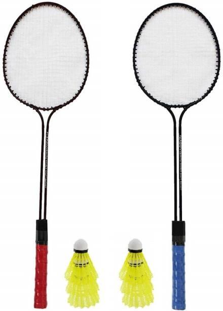 ULTRON Double Shaft Badminton Racket Pack Of 2 Piece With 6 Piece Plastic Shuttles Badminton Kit