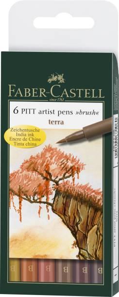 """FABER-CASTELL India Ink Pitt Artist """"B"""" Terra Brush Pens"""