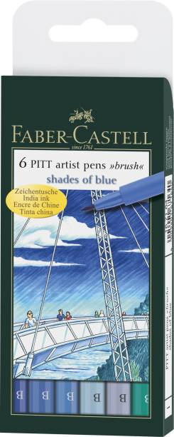 "FABER-CASTELL India Ink Pitt Artist ""B"" Blue Brush Pens"