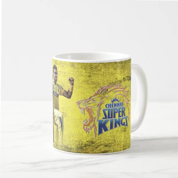 """V Kraft """"csk lover"""" whole team White Ceramic with Handle-Perfect Gift to Anyone On Any Occasion 