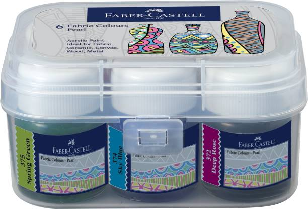 FABER-CASTELL Pearl Fabric Colours 10ml*6 Plastic Box