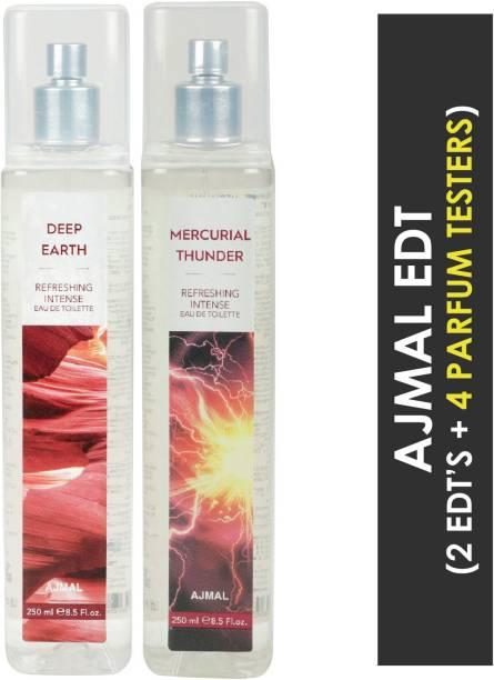 Ajmal Deep Earth & Mercurial Thunder + 4 Parfum Testers Eau de Toilette  -  500 ml